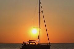 Bucht, Sounion, Yacht im Sonnenuntergang